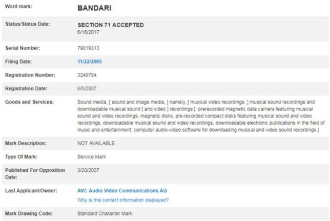 bandari  班得瑞 バンダリ 中国 商標登録証拠